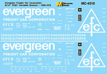 Microscale 60-4310 N Evergreen Freight Car Corp. 50' Insulated Boxcars