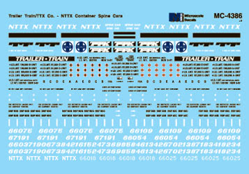 Microscale MC-4386 HO Trailer Train/TTX - NTTX Container Spine Cars Decals