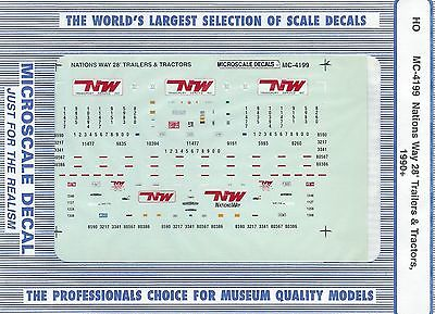 Microscale MC-4199 HO Nations Way 28' Trailers & Tractors (1990+) Decals