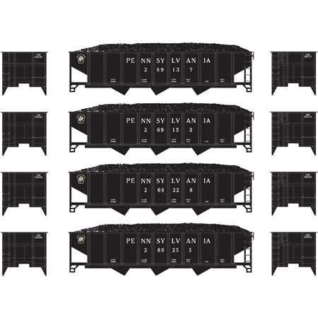 Athearn 24535 N Pennsylvania Railroad 40' 3-Bay Ribbed Hopper with Load #1 (4)