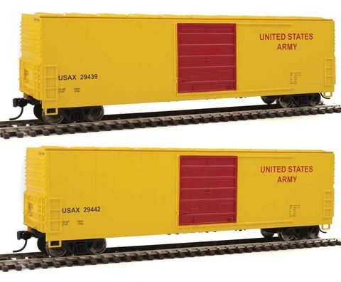 Walthers 910-1921 HO United States Army 50' Evans Smooth-Side Boxcar Ready-To-Run #29439, #29442 (2)