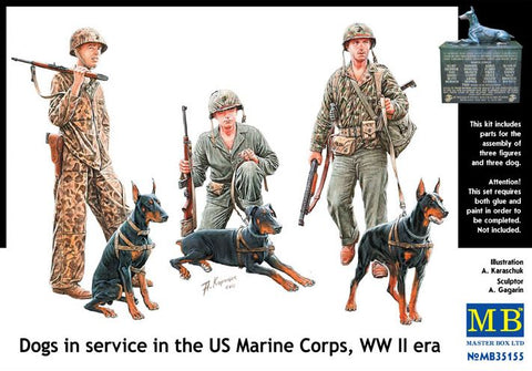 Master Box Models 35155 1:35 Dogs In Service In The US Marine Corps WW II Era