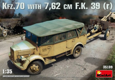MiniArt 35189 1:35 German Kfz 70 Personnel Car with 7.62cm FK39 Gun (Set of 2)