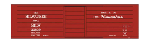 Tichy 10021 HO Milwaukee Road Ribbed-Side Boxcar with Hiawathas Slogan Railroad Decal Set