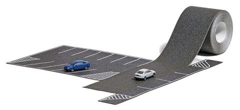 Busch 9789 N 16-Stall Asphalt Parking Lot with Roadway and 2 Audi Cars