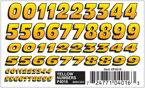 Pinecar 4016 Yellow Numbers Dry Transfer