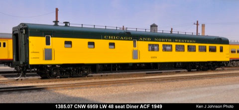 The Coach Yard 1385.07 HO SP/UP/CNW LW 36 Seat Diner, Green & Yellow 6959
