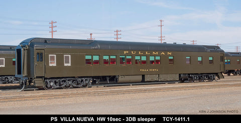 The Coach Yard 1411.1 HO Pullman Villa Nueva HW 10-3, Ice a/c, PG 10-3 Sleeper