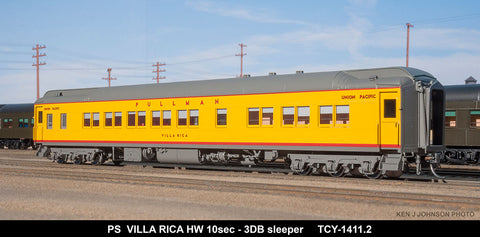The Coach Yard 1411.2 HO Pullman Villa Rica HW 10-3 Sleer, PM a/c, Yellow/Gray