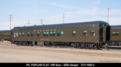 The Coach Yard 1905.2 HO Pullman Poplar Flat HW 6-6 Sleeper, PG 43257