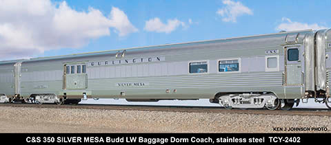 The Coach Yard 2402 HO Colorado & Southern 350/FW&D 450 LW Baggage-Dorm Coach