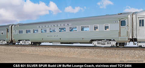 The Coach Yard 2404 HO Colorado & Southern 601/FW&D 403 LW Buffet Lounge Coach