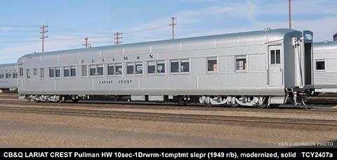 The Coach Yard 2407a HO Chicago Burlington & Quincy Modernized HW 8-5