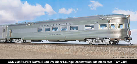 The Coach Yard 2408 HO Chicago Burlington & Quincy LW Observer Diner Lounge
