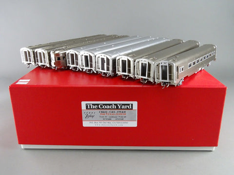 The Coach Yard 2400 HO CBQ/C&S/FW&D Train 1/23, Train 1/2 Texas Zephyr Set (9)