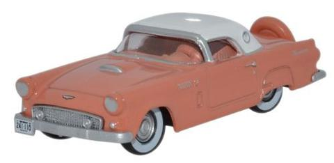 Oxford Diecast 87TH56001 HO 1956 Ford Thunderbird Coral/White