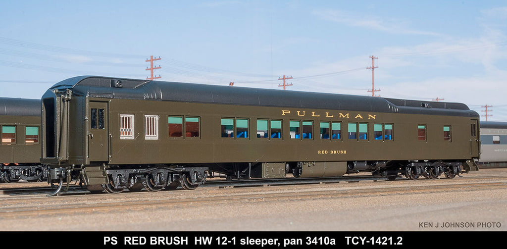 The Coach Yard 1421.2 HO Pullman Red Brush HW 12-1, PG 3410a