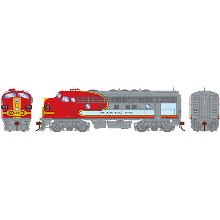 Athearn G22820 HO Santa Fe/Passenger F7A with DCC & Sound #308L