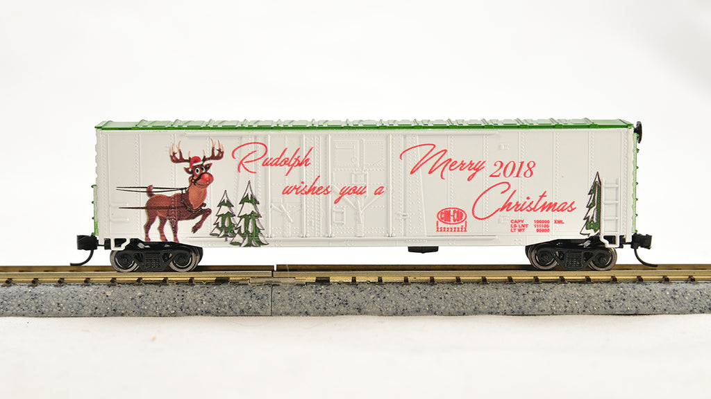 Con-Cor 1006094 N Christmas 2018 Rudolf 40' Box Car with Track