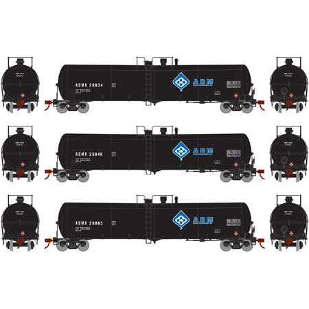 Athearn 28274 HO ADM RTR 30,000 Gallon Ethanol Tank Car #3 (Set of 3)
