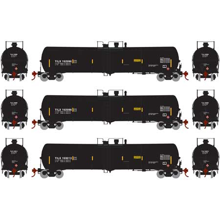 Athearn 28277 HO TILX RTR 30,000 Gallon Black Ethanol Tank Car #2 (Set of 3)