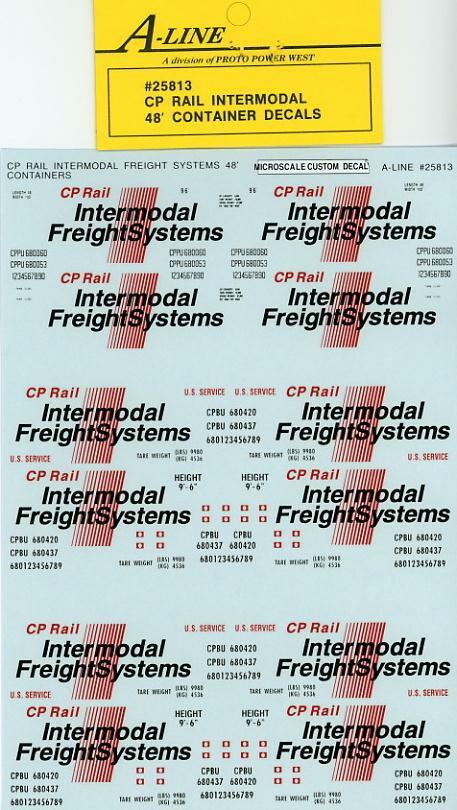 Proto Power 25813 HO CP Rail Intermodal 48' Container Decals