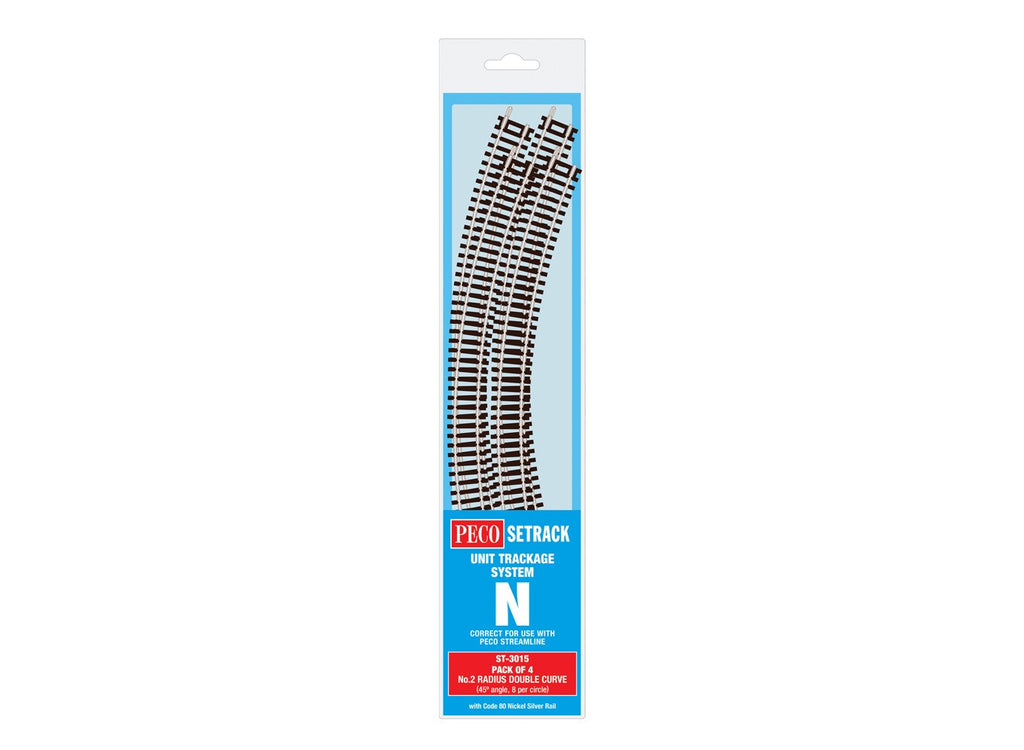 Peco ST-3015 N Code 80 2nd Radius Double Curve Tracks (Pack of 4)