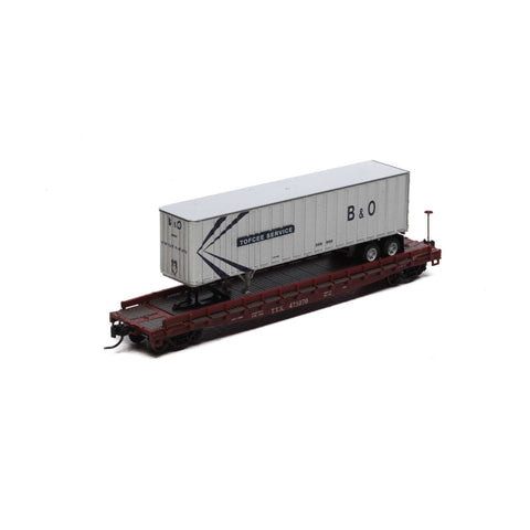 Athearn 24912 N TT/Baltimore and Ohio 53' GSC TOFC Flat with 40' Ex-Post Trailer #1