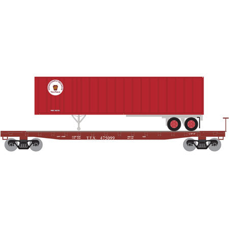 Athearn 24915 N TT/Pennsylvania Railroad 53' GSC TOFC Flat with 40' Ex-Post Trailer #1