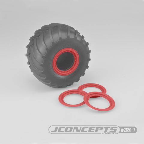 Jconcepts 2651-7 Red Tribute Wheel Mock Beadlock Glue-On Rings (Pack of 4)