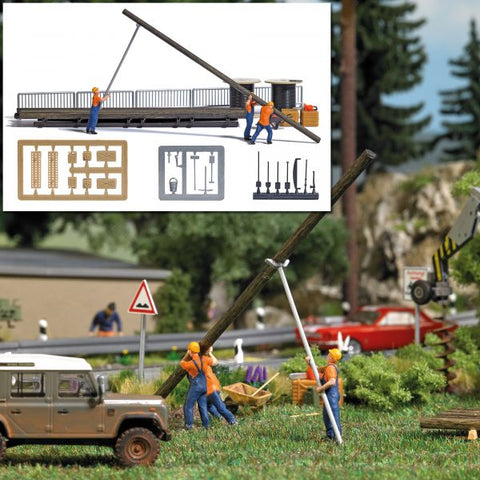 Busch 7835 HO Setting Up Masts Miniature Scene