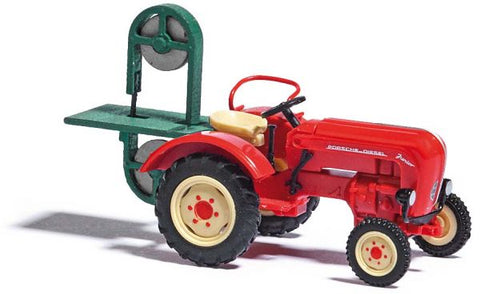 Busch 50011 HO 1957 Porsche Junior K Farm Red Tractor with Band Saw