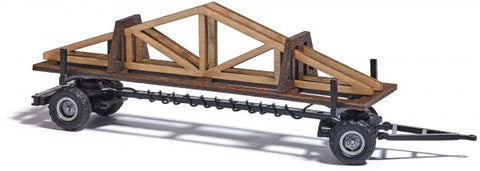 Busch 59944 HO Variable-Length Black Stake Trailer with Truss Load
