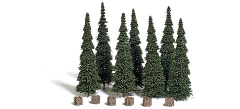 Busch 9755 HO 120 mm Fir Trees (Pack of 7) with 6 Wood Piles
