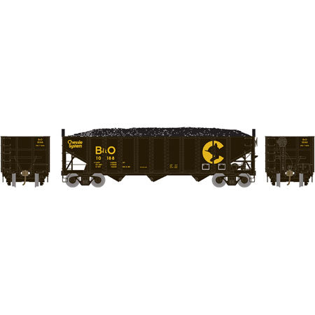 Athearn 70261 HO Chessie System 40' 3-Bay Ribbed Hopper with Load #10188