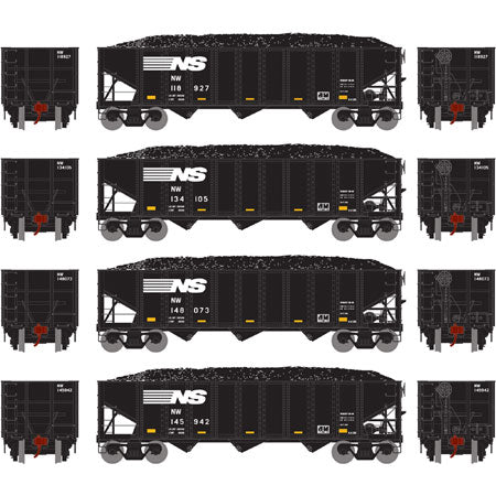Athearn 70269 HO Norfolk Southern/NW 40' 3-Bay Ribbed Hopper with Load #2