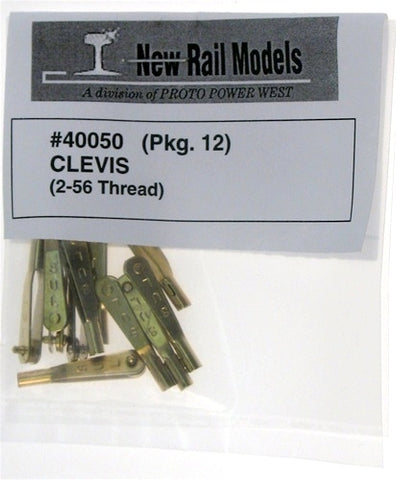 "New Rail Models 40050 HO Clevis 2-56"" Thread (Pack of 12)"