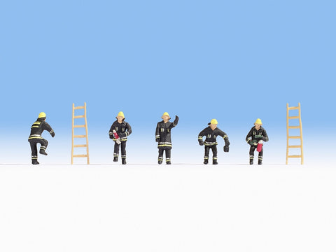 Noch 36021 N Fire Brigade in Black Cloth with Ladders (Pack of 5)
