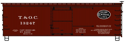 Accurail 1806 HO Toledo and Ohio Central (NYC) 36' Double Sheath Wood Boxcar Kit #13247