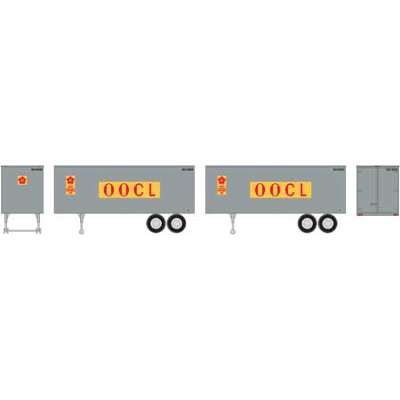 Roundhouse 7944 HO OOCL 25' Trailers (Set of 2)