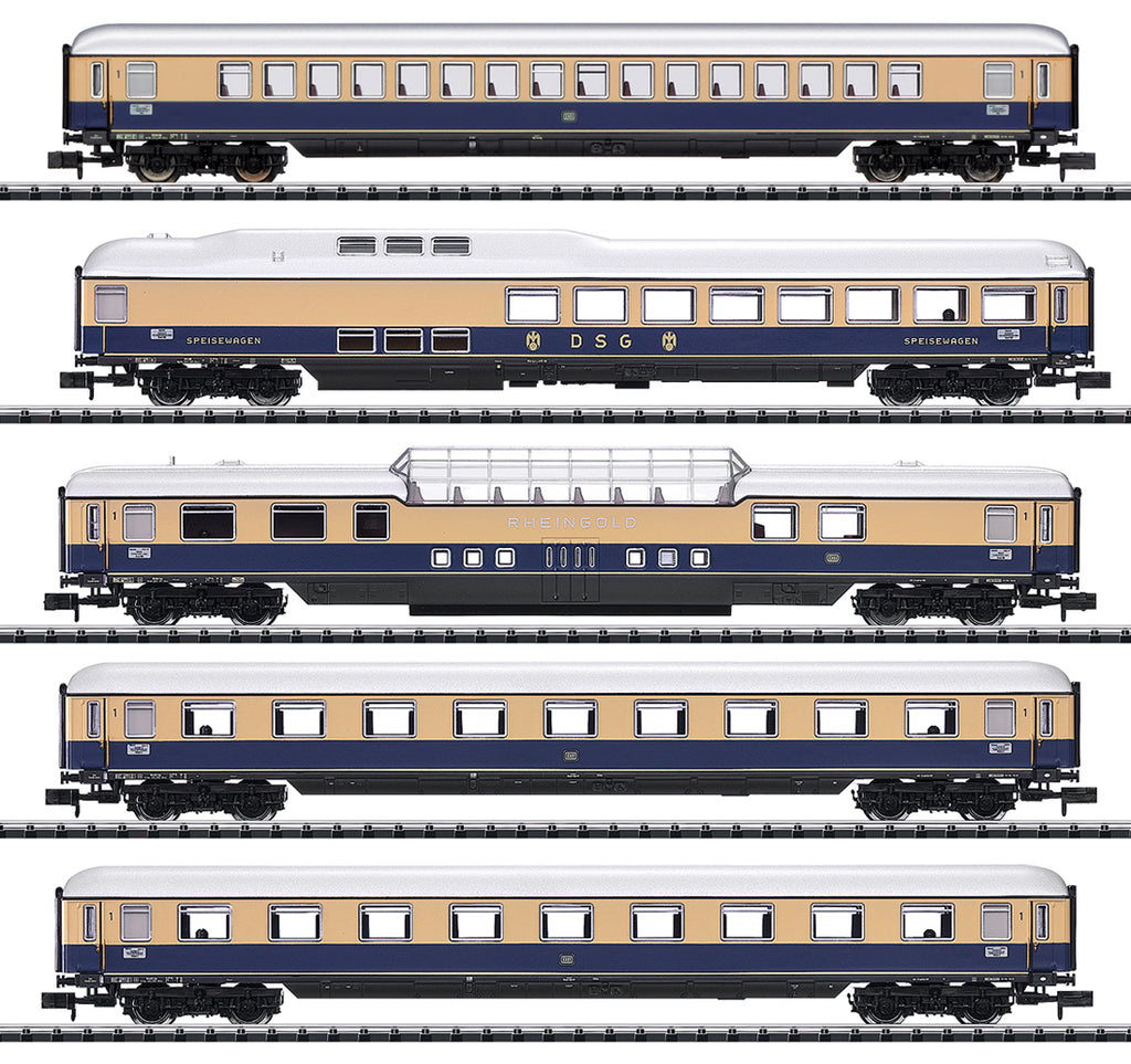 "Trix 15870 N Rheingold 62"" Express Train Passenger Car Set (Pack of 5)"