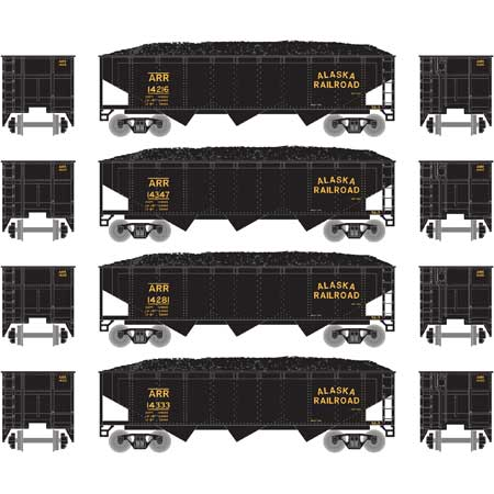 Athearn 5122 N Alaska Railroad 40' 3-Bay Offset Hopper with Load #1 (Pack of 4)