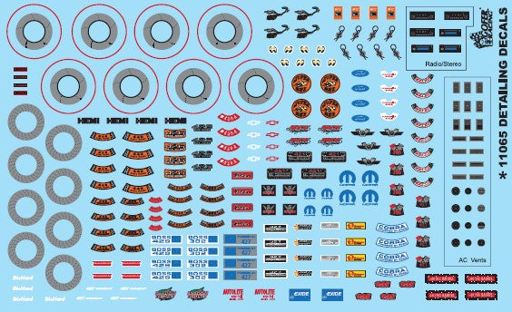 Gofer Racing Decals 11065 1/24-1/25 Car Detailing Decals (Under the Hood, Brake