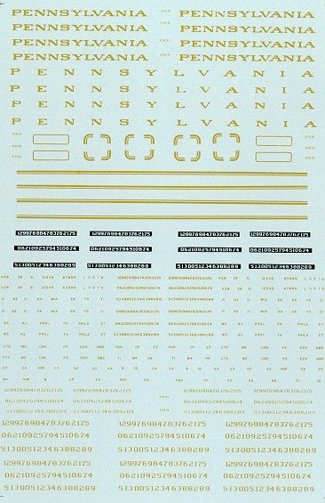 Microscale 87-66 HO Pennsylvania RR Steam Loco Gold Lettering Decals