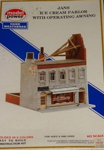 Model Power 475 HO Jans Ice Cream Parlor with Operating Awning Building Kit