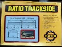 Plastic Ratio Models 527 HO Carriage Shed Building Kit