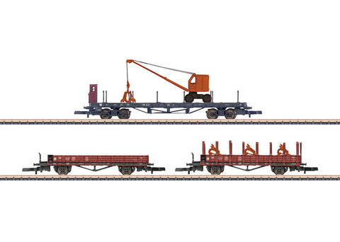 Marklin 82572 Z Power Shovel Transport Freight Car Set (3)