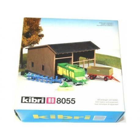 Kibri 8055 HO Scale Farm Building with Trailers Building Kit