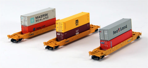 American Z-Line 90601-4 Z Scale DTTX 3-Unit Well Car Set w/Containers