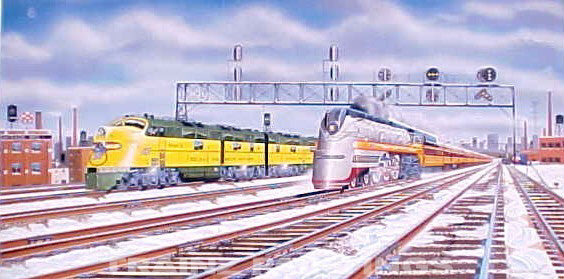 Robert West 226 Milwaukee Road 'Chicago Departure I' Railroad Art Print - Signed